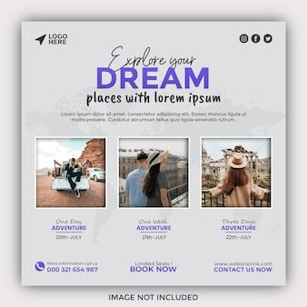 Przeglądaj media społecznościowe i banery światowego biura podróży