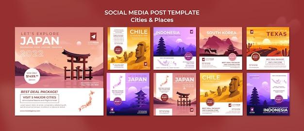 Przeglądaj posty w mediach społecznościowych miast