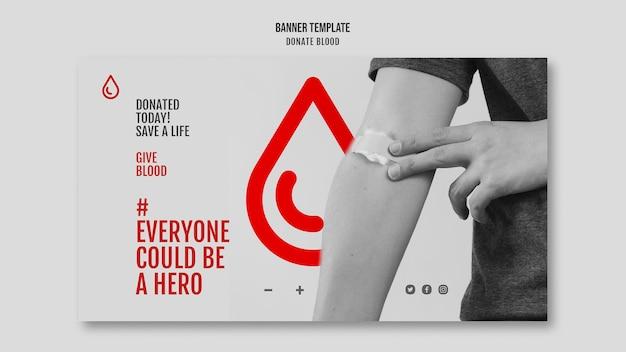 Przekaż krew poziomą baner kampanii