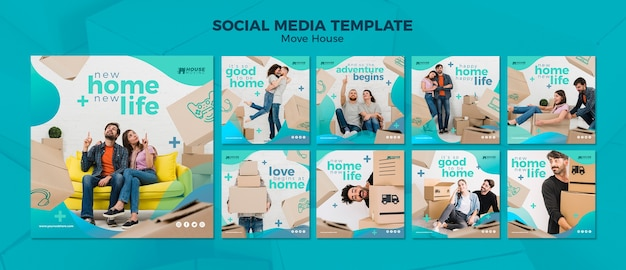 Przenieś dom koncepcja szablon mediów społecznościowych