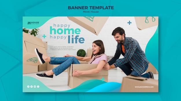 Przenieś dom koncepcja szablon transparent