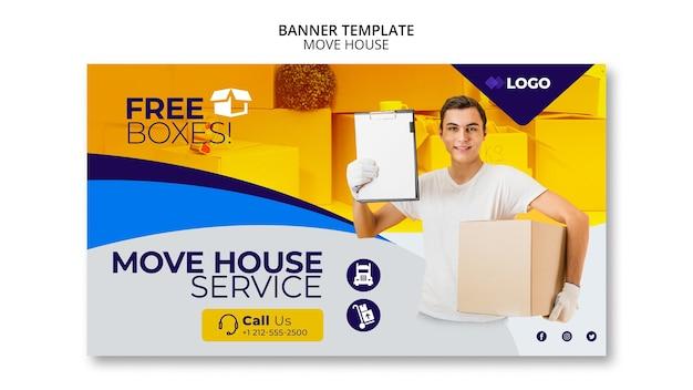 Przenieś dom szablon transparent firmy