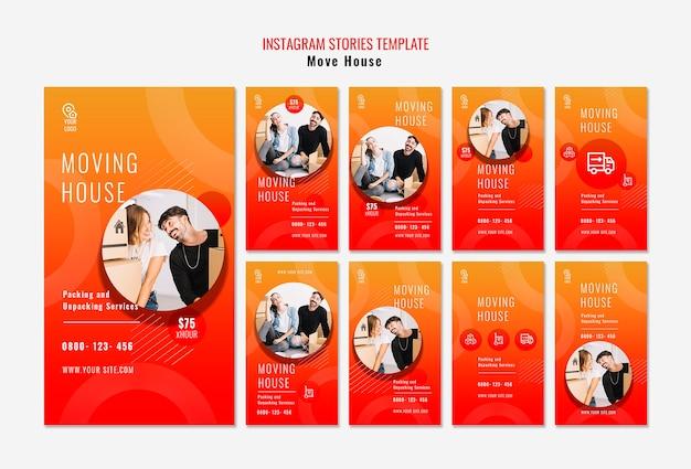 Przenieś szablon historii na instagramie