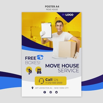 Przenieś ulotkę szablon biznes dom