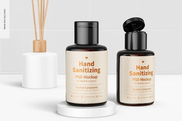 Przenośne żele do dezynfekcji rąk z makietą etykiet