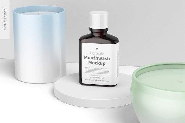 Przenośny płyn do płukania jamy ustnej z makietą etykiet, widok perspektywiczny