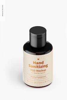 Przenośny żel do dezynfekcji rąk z makietą etykiet, widok izometryczny