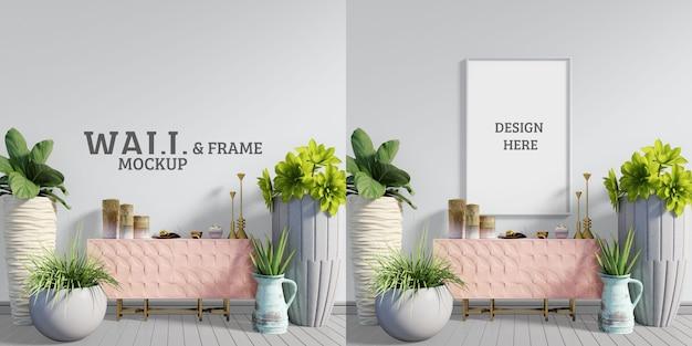 Przestrzeń z różowymi szafkami i drzewami wszelkiego rodzaju