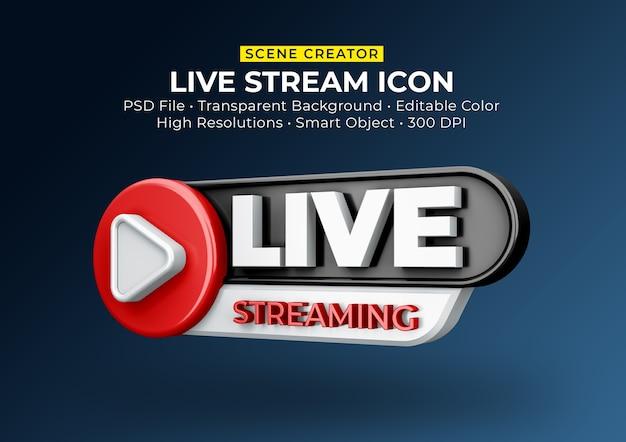 Przesyłanie strumieniowe na żywo odznaka ikona renderowania 3d na białym tle
