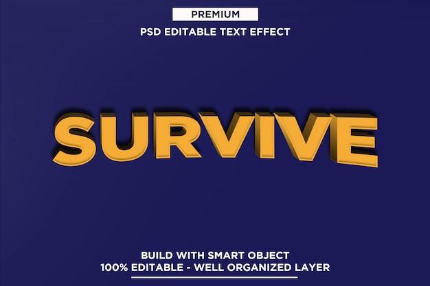 Przetrwaj makietę efektu tekstowego 3d