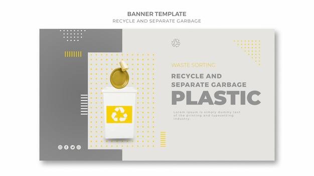 Przetwarzaj i oddzielaj baner na śmieci