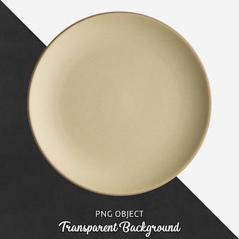 Przezroczysta beżowa ceramiczna lub porcelanowa okrągła płyta