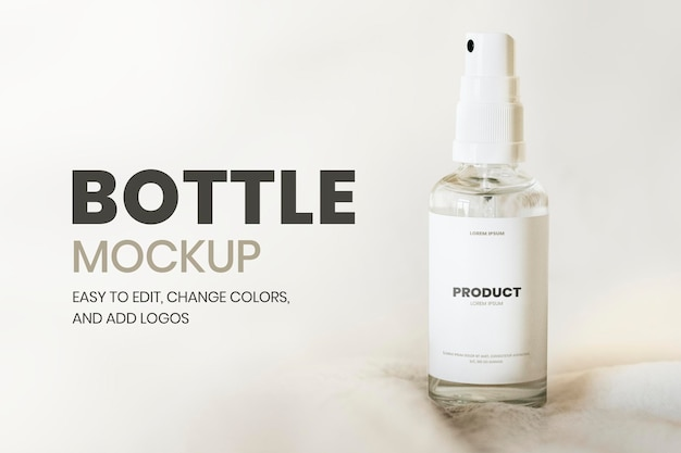 Przezroczysta butelka z rozpylaczem psd makieta w minimalistycznym stylu