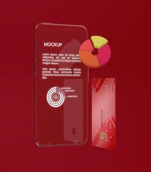 Przezroczysta makieta telefonu i karty