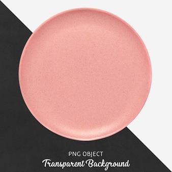 Przezroczysta różowa ceramiczna lub porcelanowa okrągła płyta
