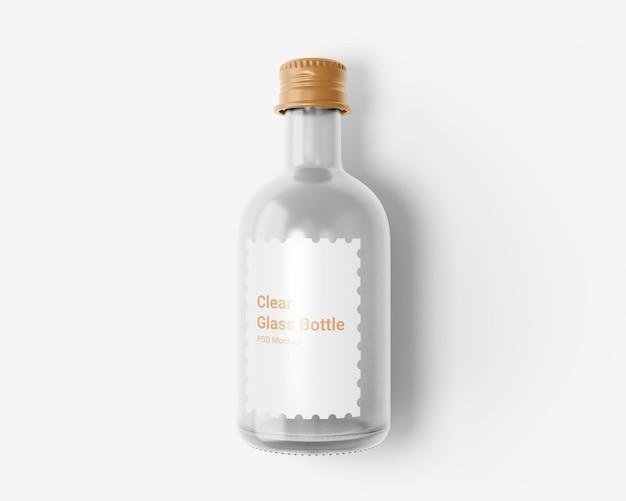 Przezroczysta szklana butelka na napoje z aluminiową nakrętką makieta