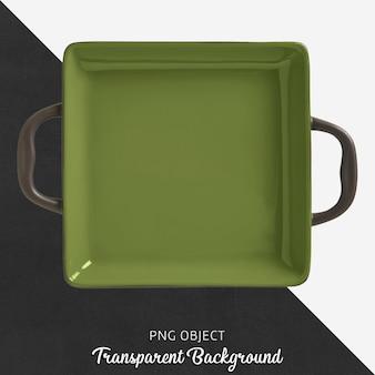 Przezroczyste kwadratowe zielone naczynie z rączką