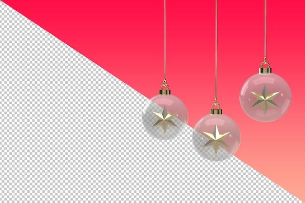Przezroczysty bombka ze złotą gwiazdą na białym tle