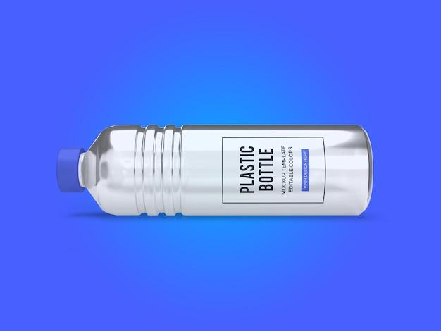 Przezroczysty szablon makiety butelki wody mineralnej na białym tle