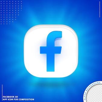 Przycisk aplikacji facebook 3d biały