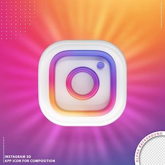 Przycisk aplikacji instagram 3d biały