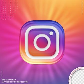Przycisk aplikacji instagram 3d