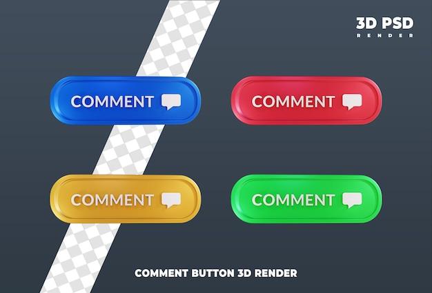 Przycisk komentarza projekt 3d render ikona odznaka na białym tle
