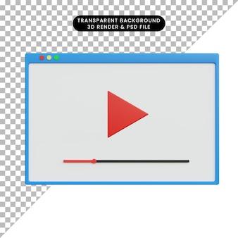 Przycisk odtwarzania renderowania 3d ui ux