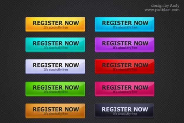 Przyciski w stylu web rejestracja