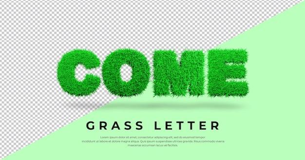 Przyjdź list z projektem trawy 3d