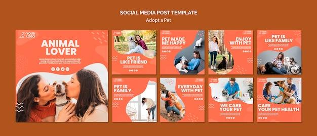 Przyjęcie postu w mediach społecznościowych dla zwierząt domowych