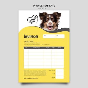Przyjęcie szablonu faktury za zwierzęta domowe