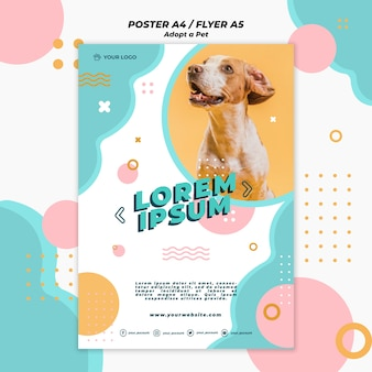 Przyjęcie szablonu projektu plakatu dla zwierząt domowych