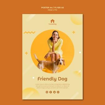 Przyjmij plakat szablonu psa