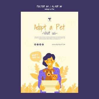Przyjmij projekt szablonu plakatu dla zwierząt domowych