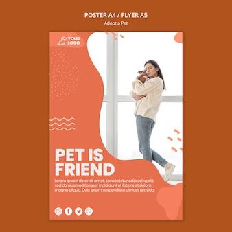 Przyjmij projekt szablonu ulotki dla zwierząt