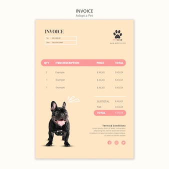 Przyjmij szablon faktury za zwierzęta domowe