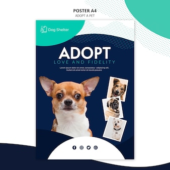 Przyjmij szablon plakatu dla zwierząt domowych