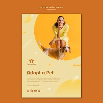 Przyjmij szablon plakatu psa