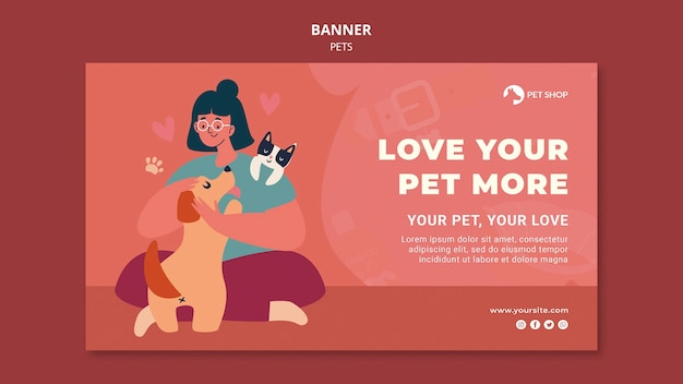 Przyjmij szablon transparentu dla zwierząt domowych
