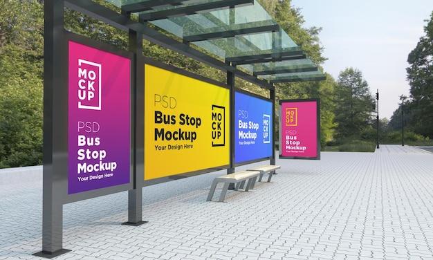 Przystanek autobusowy przystanek autobusowy cztery znaki makieta renderowania 3d