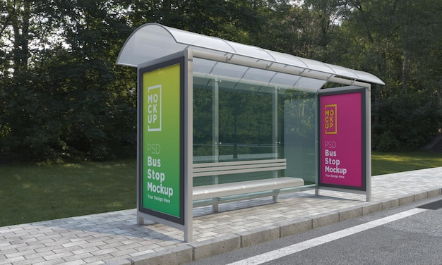 Przystanek autobusowy schronisko autobusowe dwa makieta znak renderowania 3d