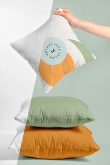 Przytulna makieta z tkaniny na poduszkę