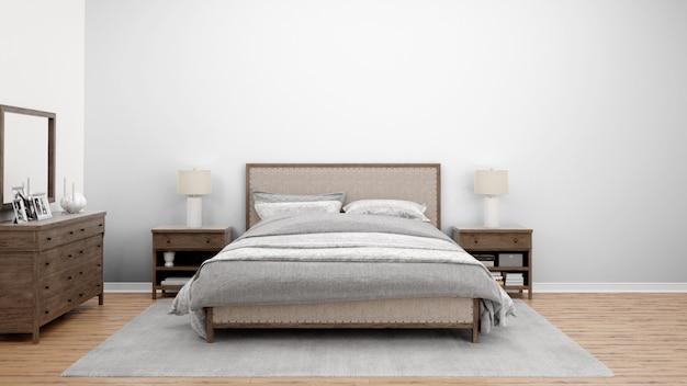 Przytulna sypialnia lub pokój hotelowy z podwójnym łóżkiem i drewnianymi meblami