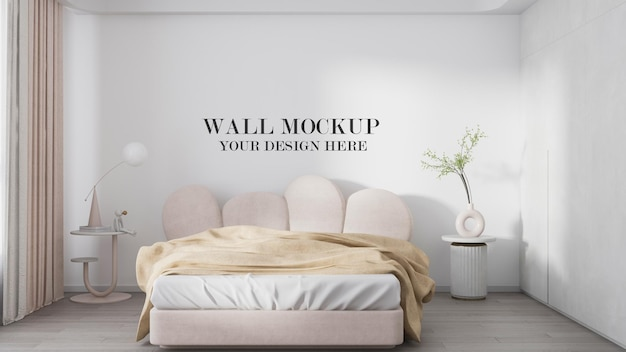Przytulny szablon ściany sypialni w renderowaniu 3d