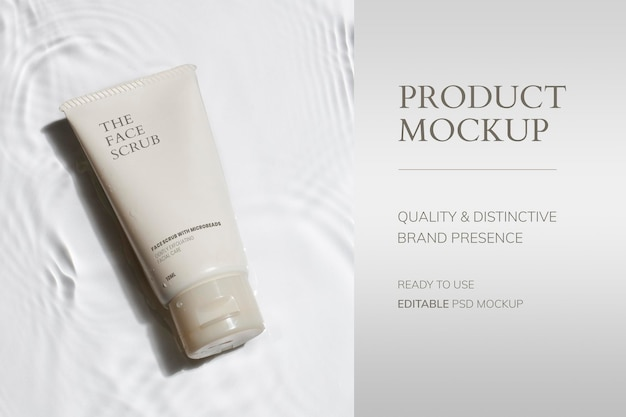 Psd makieta tubki kosmetycznej, opakowanie produktu do pielęgnacji urody i skóry