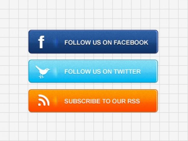 Psd społeczne przyciski multimedialne materiały