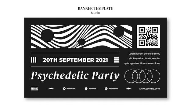 Psychodeliczny szablon transparentu imprezy