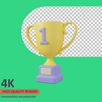 Puchar 3d edukacja ikona ilustracja wysokiej jakości render