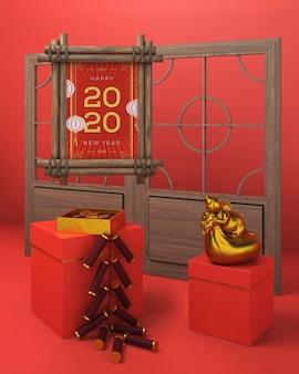 Pudełka na prezenty i rama nowego roku